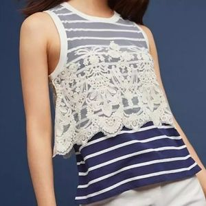 Anthropologie Postmark Nautique Lace Overlay Top